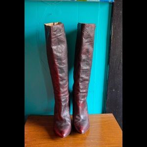Frye Regina tall zip boots in burnt red leather
